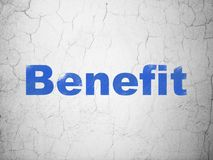 Finance concept: Benefit on wall background. Finance concept: Blue Benefit on textured concrete wall background Stock Photography