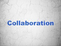 Finance concept: Collaboration on wall background. Finance concept: Blue Collaboration on textured concrete wall background Royalty Free Stock Image