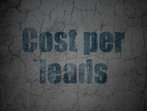 Finance concept: Cost Per Leads on grunge wall background. Finance concept: Blue Cost Per Leads on grunge textured concrete wall background Stock Images
