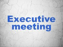 Finance concept: Executive Meeting on wall background. Finance concept: Blue Executive Meeting on textured concrete wall background Stock Image