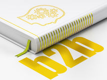 Finance concept: book Head With Gears, B2b on white background. Finance concept: closed book with Gold Head With Gears icon and text B2b on floor, white Stock Photography