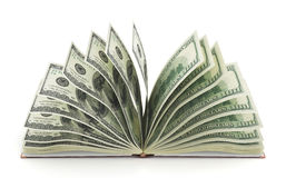 Finance concept. Book with money as pages. 3d illustration Royalty Free Stock Photo