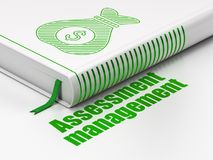 Finance concept: book Money Bag, Assessment Management on white background. Finance concept: closed book with Green Money Bag icon and text Assessment Management Stock Images