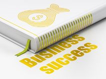 Finance concept: book Money Bag, Business Success on white background. Finance concept: closed book with Gold Money Bag icon and text Business Success on floor Stock Images