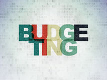 Finance concept: Budgeting on Digital Paper. Finance concept: Painted multicolor text Budgeting on Digital Paper background, 3d render Royalty Free Stock Images