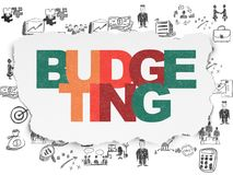 Finance concept: Budgeting on Torn Paper background. Finance concept: Painted multicolor text Budgeting on Torn Paper background with  Hand Drawn Business Icons Royalty Free Stock Photos
