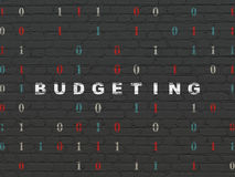 Finance concept: Budgeting on wall background. Finance concept: Painted white text Budgeting on Black Brick wall background with Binary Code, 3d render Royalty Free Stock Photography