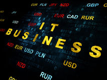 Finance concept: IT Business on Digital background. Finance concept: Pixelated yellow text IT Business on Digital wall background with Currency Stock Photography