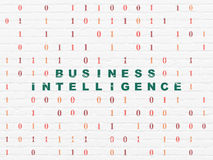 Finance concept: Business Intelligence on wall Stock Photo