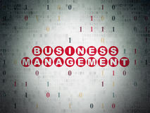 Finance concept: Business Management on Digital. Finance concept: Painted red text Business Management on Digital Paper background with Binary Code, 3d render royalty free stock photography