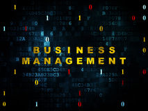 Finance concept: Business Management on Digital. Finance concept: Pixelated yellow text Business Management on Digital wall background with Binary Code, 3d royalty free stock photo