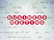 Finance concept: Business Meeting on Digital Data Paper background. Finance concept: Painted red text Business Meeting on Digital Data Paper background with Royalty Free Stock Photos