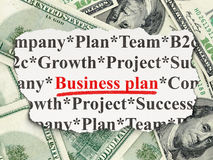 Finance concept: Business Plan on Money Royalty Free Stock Photos