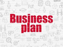 Finance concept: Business Plan on wall background. Finance concept: Painted red text Business Plan on White Brick wall background with  Hand Drawn Business Icons Royalty Free Stock Image