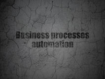 Finance concept: Business Processes Automation on grunge wall background. Finance concept: Black Business Processes Automation on grunge textured concrete wall Royalty Free Stock Photography