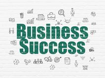 Finance concept: Business Success on wall background. Finance concept: Painted green text Business Success on White Brick wall background with  Hand Drawn Stock Photography