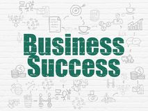 Finance concept: Business Success on wall background. Finance concept: Painted green text Business Success on White Brick wall background with Scheme Of Hand Stock Images