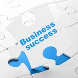 Finance concept: Business Success on puzzle background. Finance concept: Business Success on White puzzle pieces background, 3D rendering Stock Images
