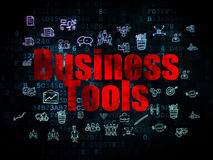 Finance concept: Business Tools on Digital. Finance concept: Pixelated red text Business Tools on Digital background with  Hand Drawn Business Icons, 3d render Royalty Free Stock Photography