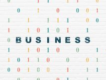 Finance concept: Business on wall background. Finance concept: Painted blue text Business on White Brick wall background with Binary Code Royalty Free Stock Images