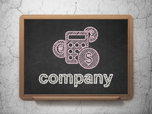 Finance concept: Calculator and Company on. Finance concept: Calculator icon and text Company on Black chalkboard on grunge wall background, 3d render Stock Photos