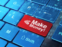 Finance concept: Calculator and Make Money! on. Finance concept: computer keyboard with Calculator icon and word Make Money! on enter button background, 3d Stock Image