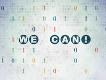 Finance concept: We can! on Digital Data Paper background. Finance concept: Painted blue text We can! on Digital Data Paper background with Binary Code Royalty Free Stock Photo