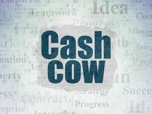 Finance concept: Cash Cow on Digital Data Paper background. Finance concept: Painted blue text Cash Cow on Digital Data Paper background with   Tag Cloud Stock Photography
