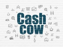 Finance concept: cash cow on wall background. Finance concept: painted blue text cash cow on white brick wall background with hand drawn business icons Royalty Free Stock Image