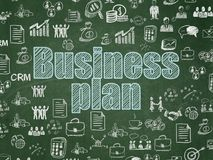 Finance concept: Business Plan on School board background. Finance concept: Chalk Blue text Business Plan on School board background with  Hand Drawn Business Royalty Free Stock Photography