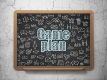 Finance concept: Game Plan on School board background. Finance concept: Chalk Blue text Game Plan on School board background with  Hand Drawn Business Icons, 3D Royalty Free Stock Photos