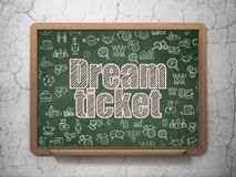 Finance concept: Dream Ticket on School board background. Finance concept: Chalk Pink text Dream Ticket on School board background with  Hand Drawn Business Stock Image