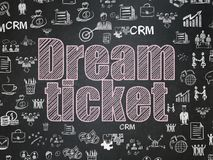 Finance concept: Dream Ticket on School board background. Finance concept: Chalk Pink text Dream Ticket on School board background with  Hand Drawn Business Royalty Free Stock Photo