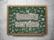 Finance concept: Quality Service on School board background. Finance concept: Chalk Pink text Quality Service on School board background with  Hand Drawn Stock Photos