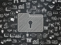 Finance concept: Folder With Keyhole on School board background Royalty Free Stock Image
