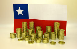Finance concept with Chilean flag. Finance concept with Chilean national flag and golden coins Royalty Free Stock Image