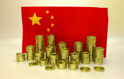 Finance concept with Chinese flag. Finance concept with Chinese national flag and golden coins Royalty Free Stock Photos