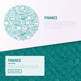 Finance concept in circle with thin line icons. Safe, credit card, piggy bank, wallet, currency exchange, hammer, agreement, handshake, atm slot. Modern vector Stock Image