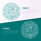 Finance concept in circle with thin line icons. Safe, credit card, piggy bank, wallet, currency exchange, hammer, agreement, handshake, atm slot. Modern vector Stock Images