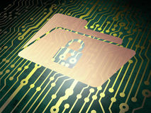 Finance concept: circuit board with Folder Lock Stock Photos
