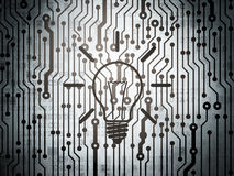 Finance concept: circuit board with Light Bulb Royalty Free Stock Images