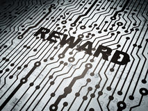 Finance concept: circuit board with Reward. Finance concept: circuit board with  word Reward, 3d render Stock Photography