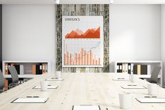 Finance concept. Close up of conference table in interior with business chart on banner. Finance concept. 3D Rendering Stock Photo