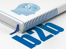 Finance concept: book Head With Finance Symbol, B2b on white background. Finance concept: closed book with Blue Head With Finance Symbol icon and text B2b on Royalty Free Stock Images