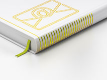 Finance concept: closed book, Email on white. Finance concept: closed book with Gold Email icon on floor, white background, 3d render Royalty Free Stock Photo