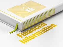 Finance concept: book Folder With Lock, Financial Information on white background. Finance concept: closed book with Gold Folder With Lock icon and text Stock Images