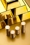 Finance Concept, coins and gold Royalty Free Stock Images