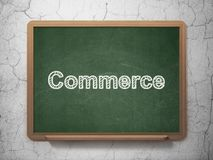 Finance concept: Commerce on chalkboard background. Finance concept: text Commerce on Green chalkboard on grunge wall background, 3D rendering Royalty Free Stock Photos