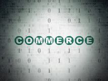 Finance concept: Commerce on Digital Data Paper background. Finance concept: Painted green text Commerce on Digital Data Paper background with Binary Code Stock Image