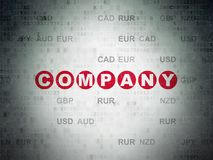 Finance concept: Company on Digital Data Paper background. Finance concept: Painted red text Company on Digital Data Paper background with Currency Stock Photos